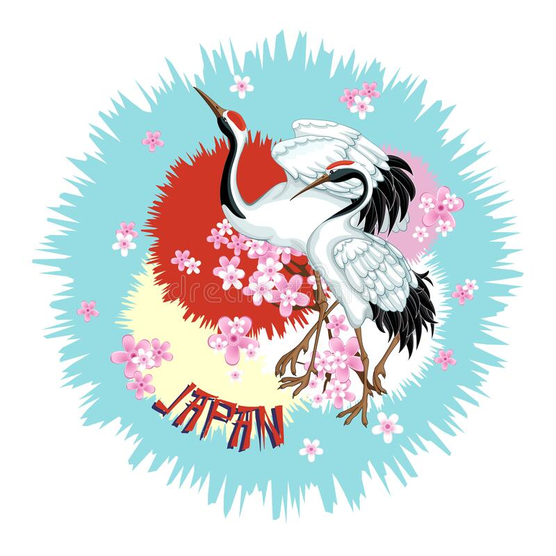 Free Japanese Emblem With Two Cranes And Sakura On An Abstract Background. Stock Photo - 207136260