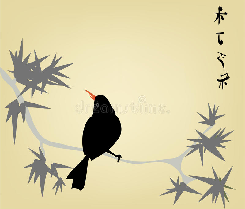 The Japanese engraving. Vector illustration with Japanese engraving stock illustration
