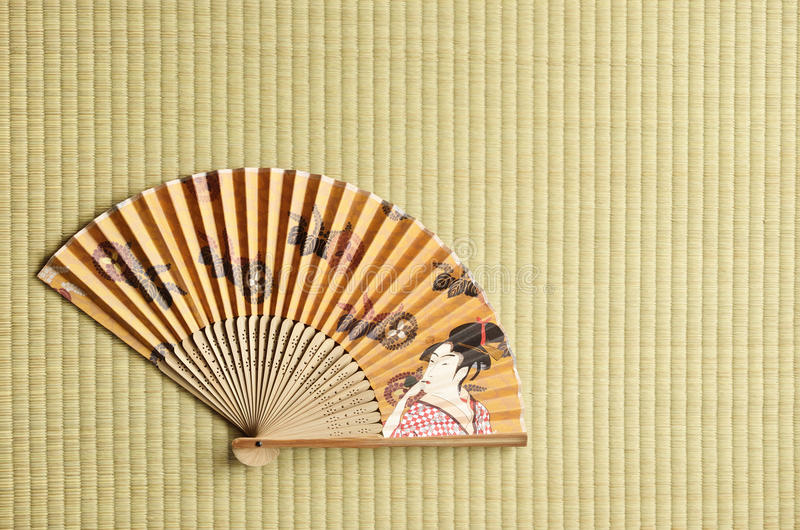 Japanese fan. Sensu- on tatami stock images