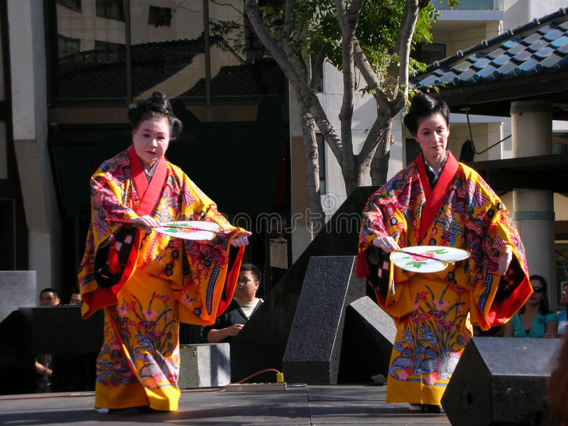 Japanese fan dancing, women with kimono stock images