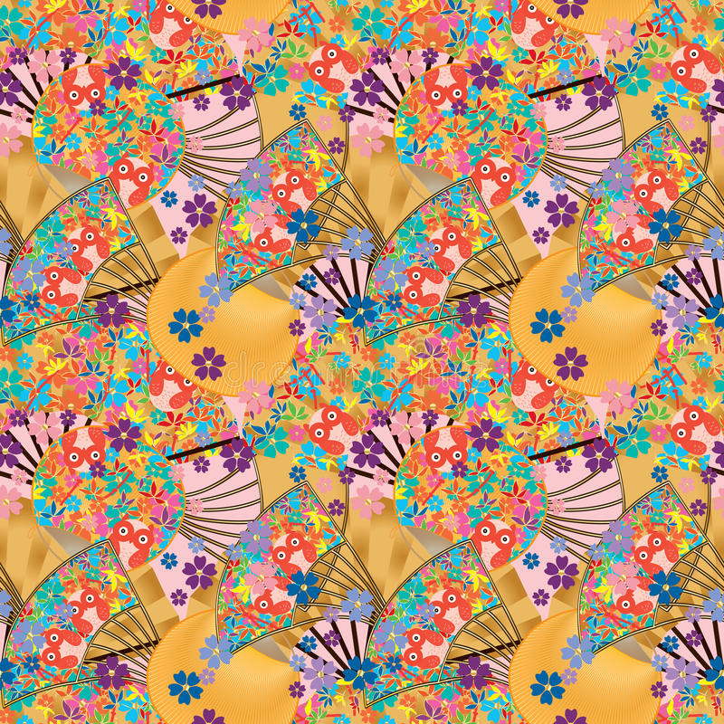 Free Japanese Fan Owl Orange Seamless Pattern Stock Photos - 70394563