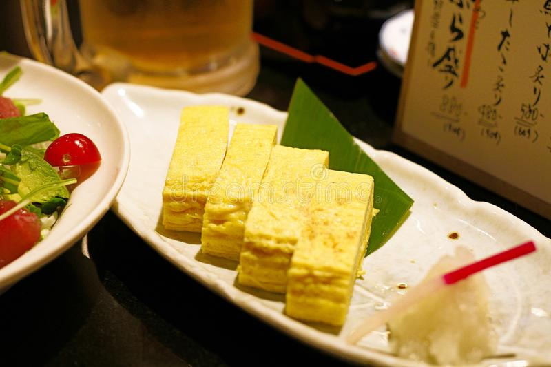 Japanese favorite food called dashimaki made from fresh egg marinated stock images