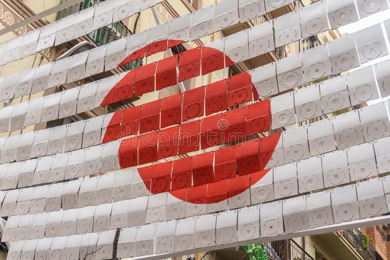 Japanese flag decoration in barcelona traditional party royalty free stock photo
