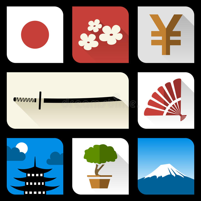 Japanese flat icons. Set of japanese flat icons vector illustration