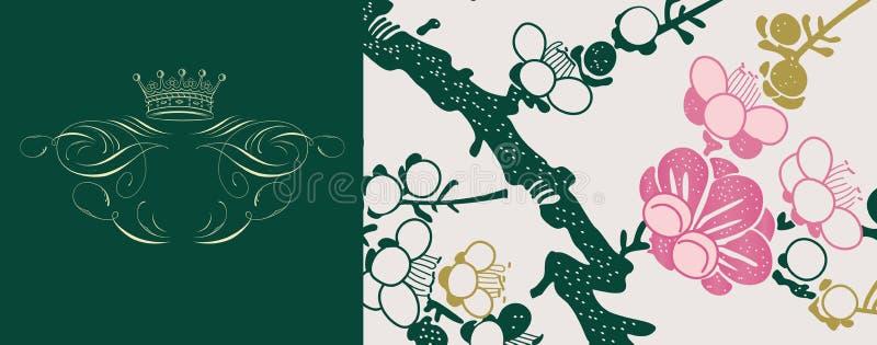 Japanese floral background stock illustration