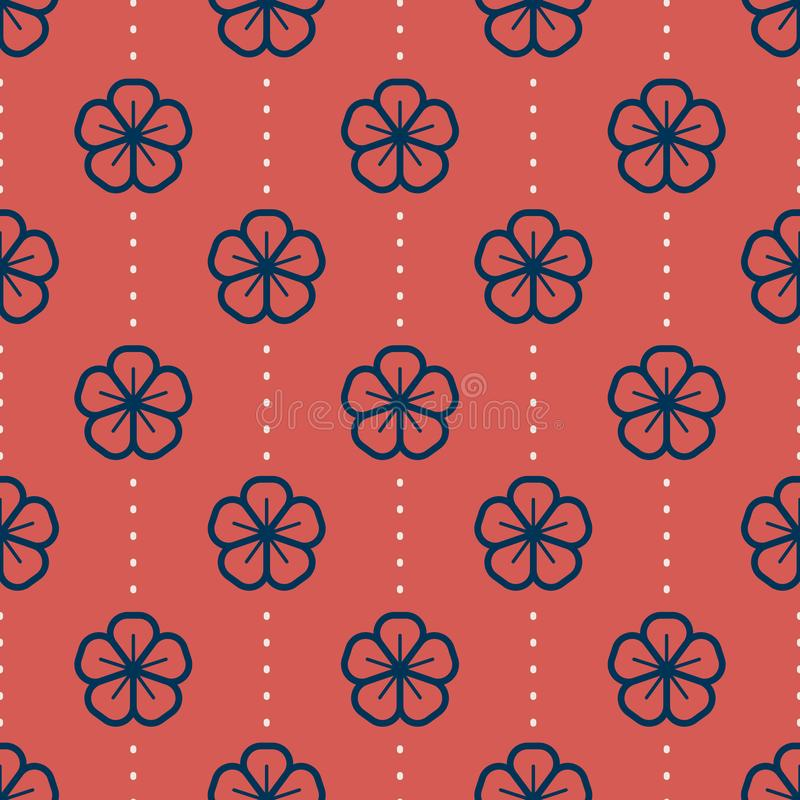 Japanese floral seamless pattern on Light background vector illustration stock illustration