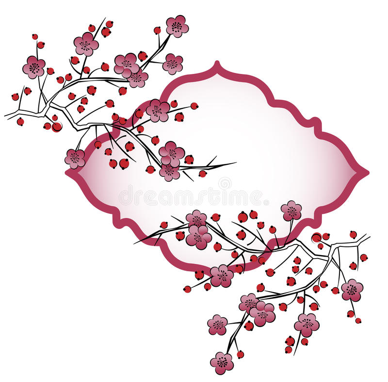 Download Japanese Flower Petals On Branches Stock Vector