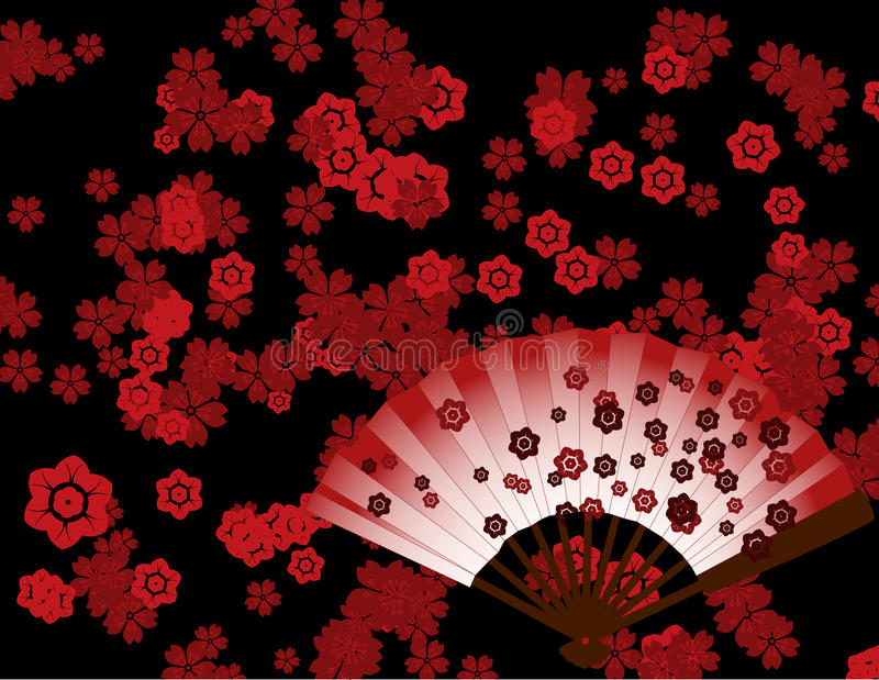 Download Japanese Flower Wallpaper With Fan Stock Vector