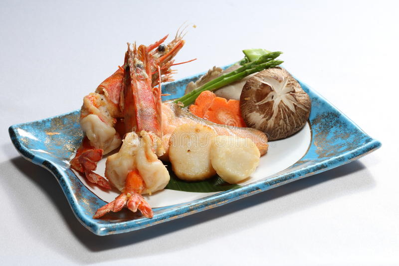 Japanese food. A serving of Japanese grill food set royalty free stock image