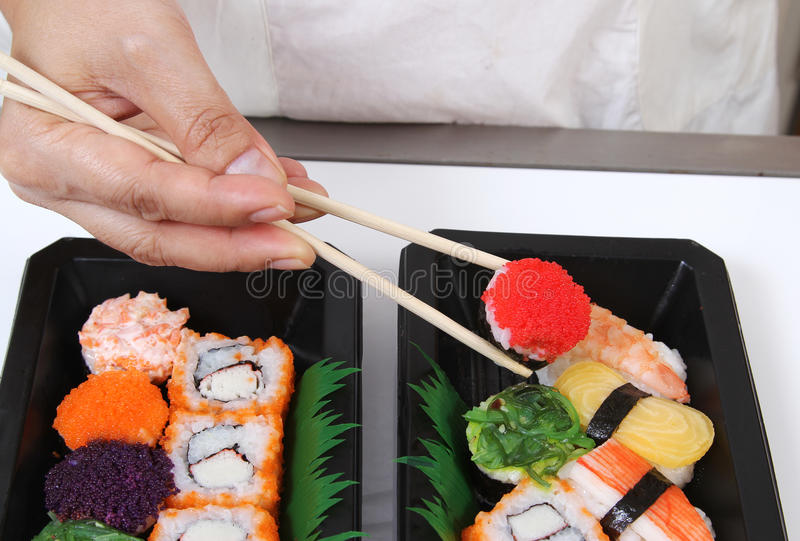 Download Japanese food stock image. Image of roll, closeup, hand - 28677501
