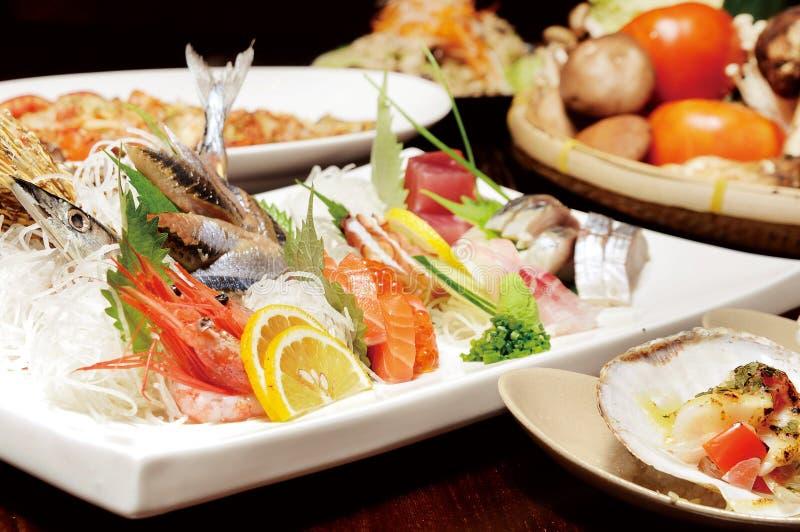 Japanese food. Japanese sashimi food on dish royalty free stock image