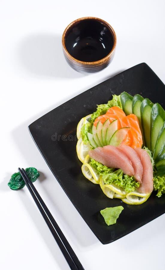 Japanese food. Tuna and salmon sashimi stock photos