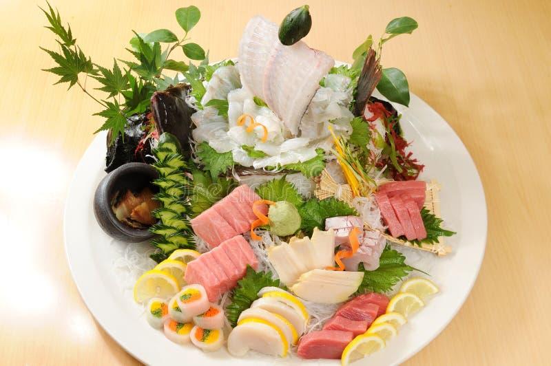 Japanese food. Japanese sashimi food on ice stock photography