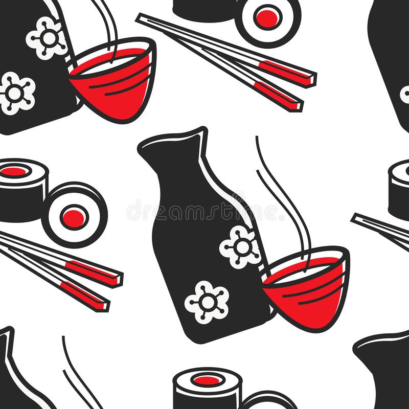 Free Japanese Food And Drink Green Tea And Sushi Seamless Pattern Stock Photography - 146370142