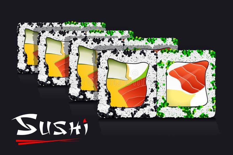 Japanese Food on Black Background and Stylized Inscription Sushi. Vector royalty free illustration
