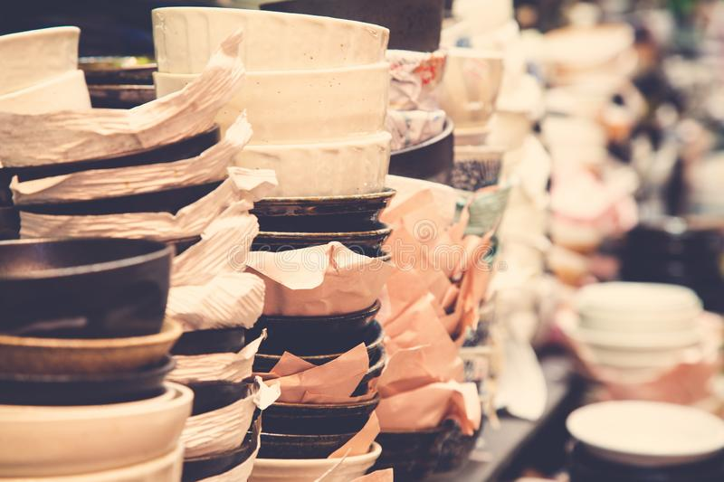 Japanese food bowls for sale royalty free stock photo