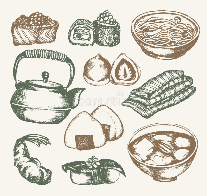 Japanese Food - color hand drawn illustrative composition. stock illustration