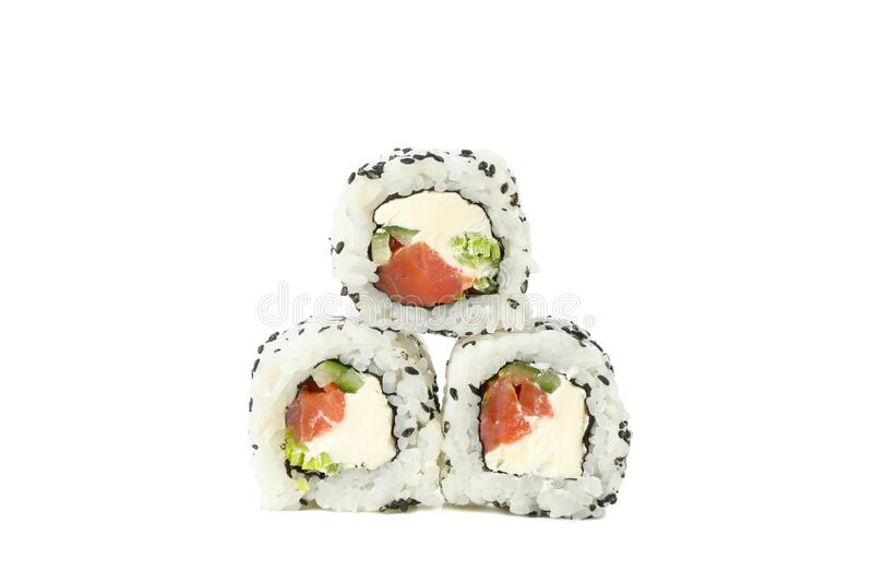 Japanese food. Delicious sushi rolls isolated on background. Japanese food. Delicious sushi rolls isolated on white background stock images