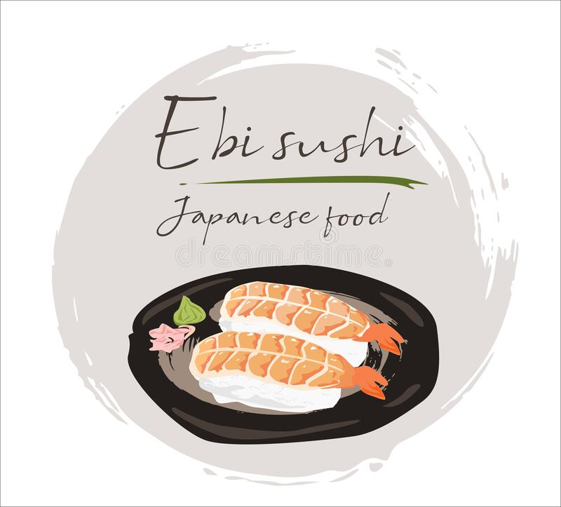 Japanese food design,Ebi sushi Isolated on white background. Side view,Vector illustration eps10 graphic royalty free illustration