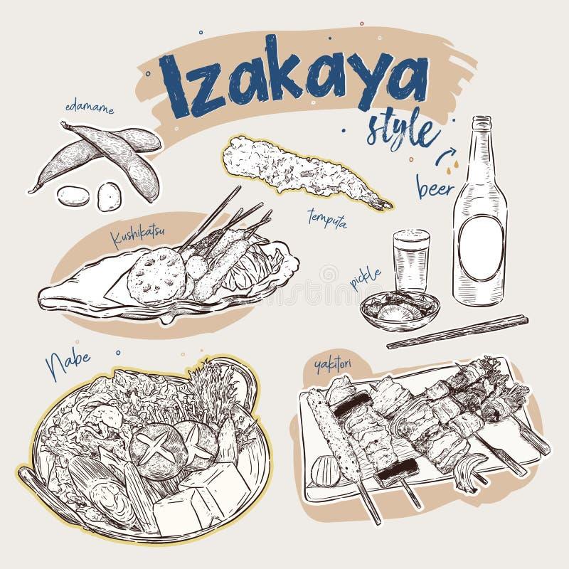 Japanese food elements, Izakaya style. hand draw sketch vector royalty free illustration
