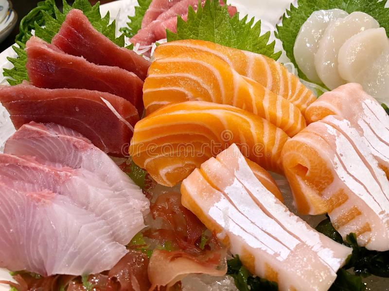 Sashimi. Japanese food. Fresh raw fish served on ice or sashimi stock photography