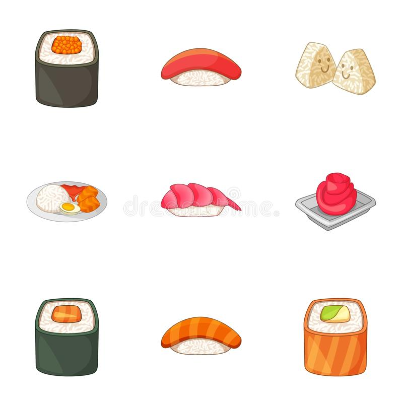 Japanese food icons set, cartoon style. Japanese food icons set. Cartoon set of 9 Japanese food vector icons for web isolated on white background stock illustration