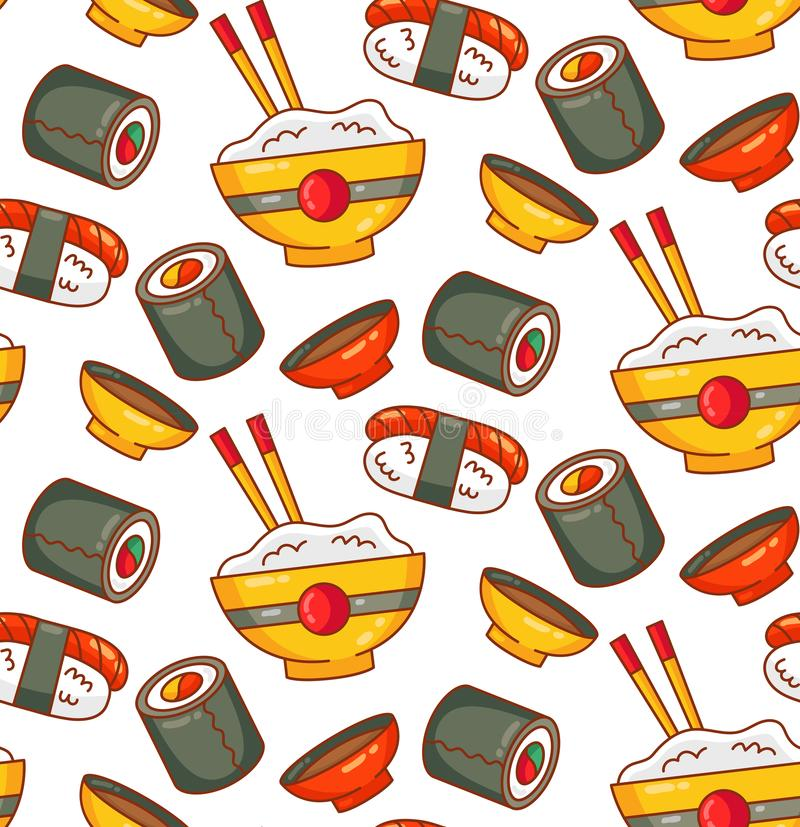 Japanese food icons sushi roll seamless vector pattern. Japanese food icons sushi roll rice seamless colorful vector pattern stock illustration