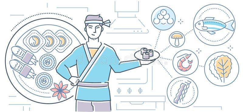 Japanese food - illustration vector illustration