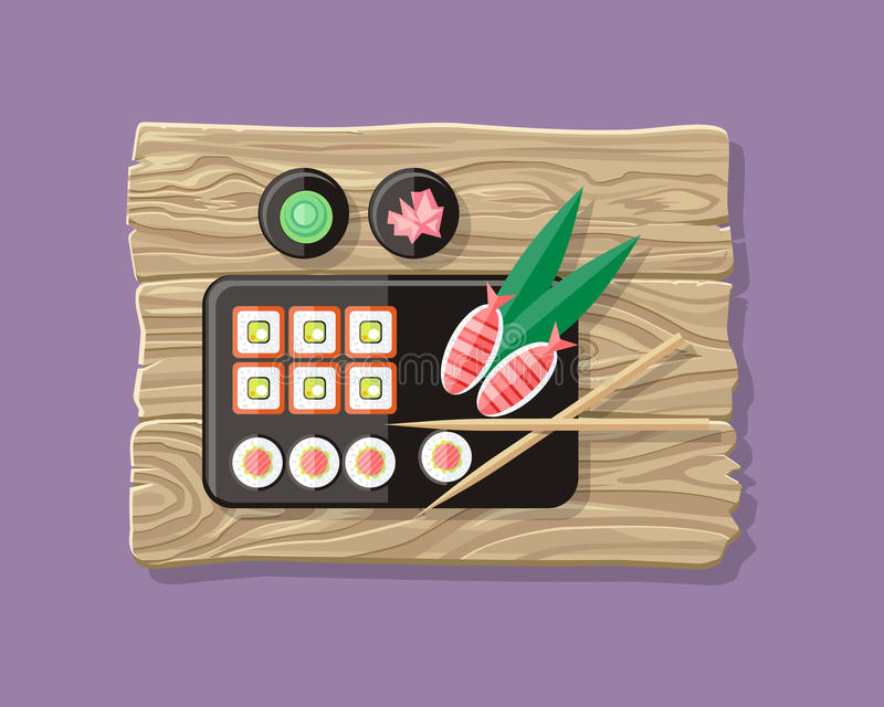 Japanese Food Illustration web Banner. Japan Sushi stock illustration