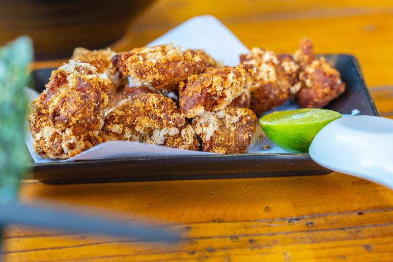 Japanese food Karaage, fried cutted chicken Japanese style food stock photos