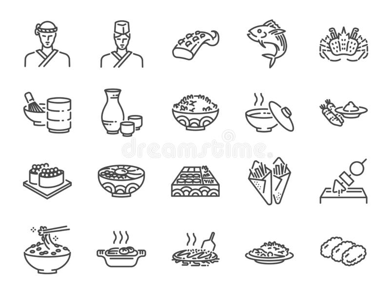 Japanese food line icon set 2. Included the icons as sushi, sashimi, maki, sushi roll, Tonkatsu and more. royalty free illustration