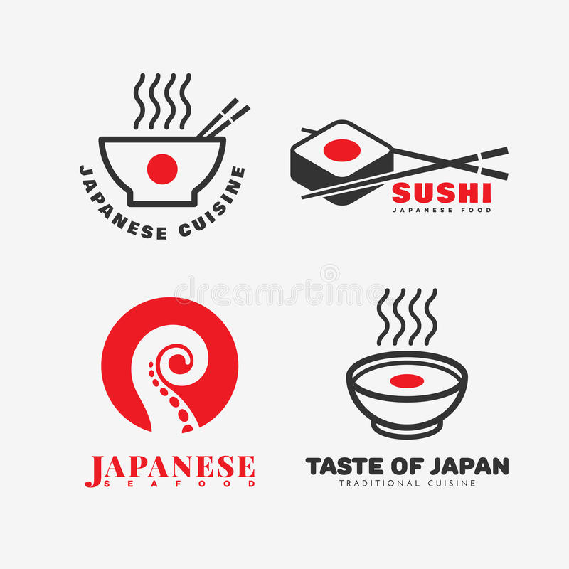 Japanese food logo. Set of japanese food logo templates design. Vector illustration royalty free illustration