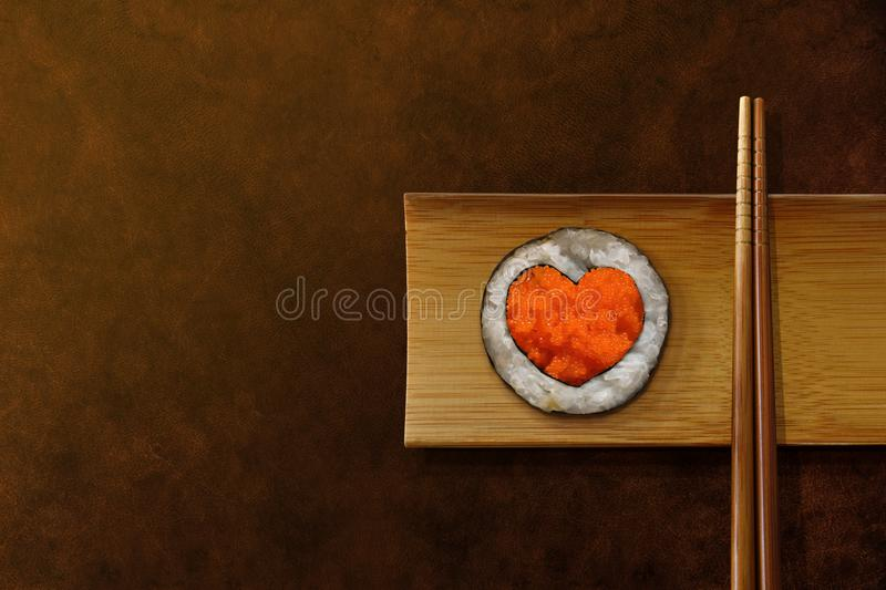 Japanese Food Lover Concept. Roll Sushi with Heart Shape, Serve stock image