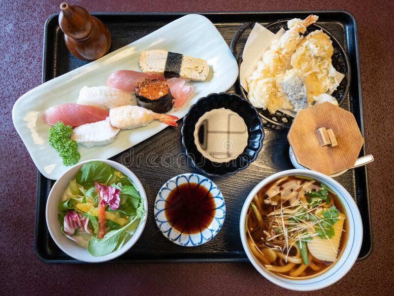 Japanese food. Lunch, dinner.Traditional Japanese food. stock images