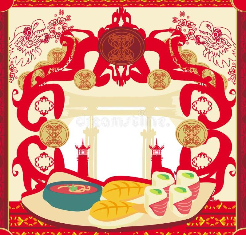 Japanese food menu - vintage card. Illustration vector illustration