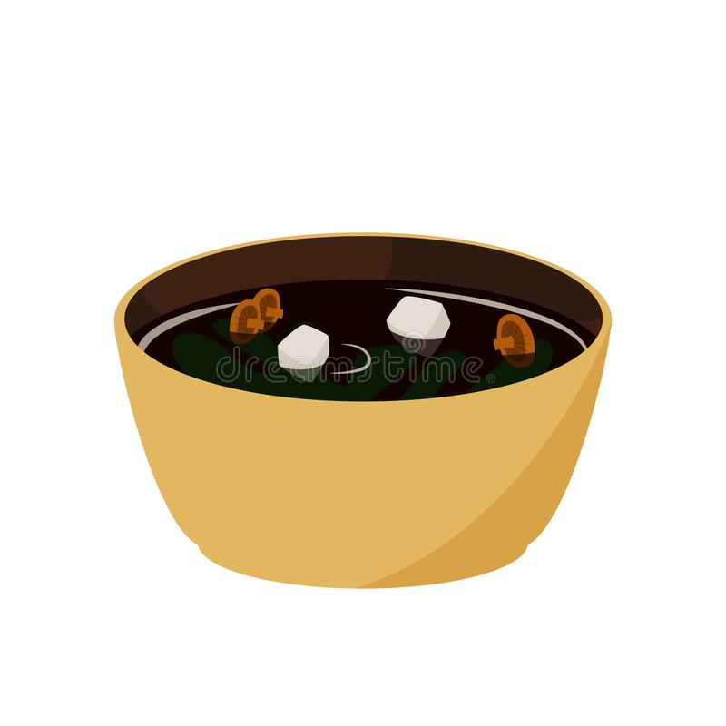 Japanese food. Miso soup. Asian meal illustration. royalty free illustration