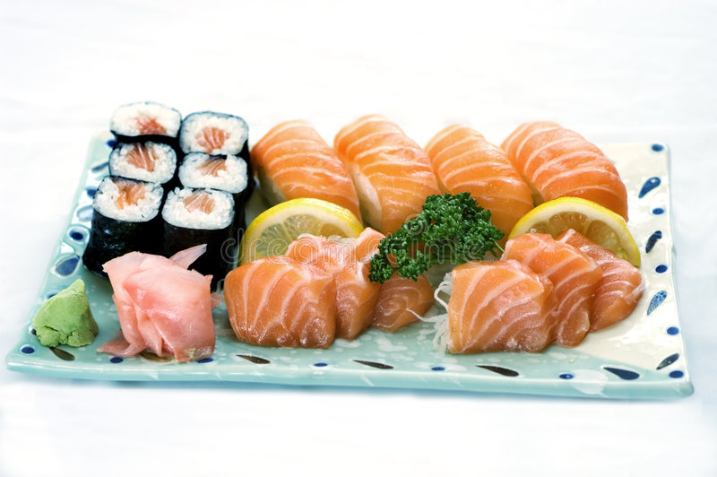 Japanese Food, Mixed Menu, Plate of Sashimi,. Maki and Sushi Sliced Raw Fish, Salmon, PS-43294 stock images