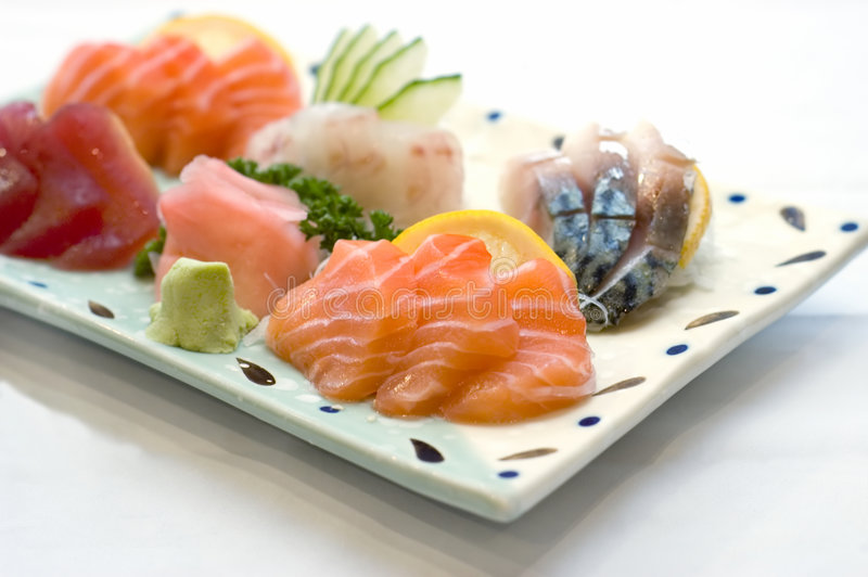 Japanese Food, Plate of Sashimi,. Sliced Raw Fish, Tuna, Salmon, Mackeral,,PS-43291 royalty free stock photos