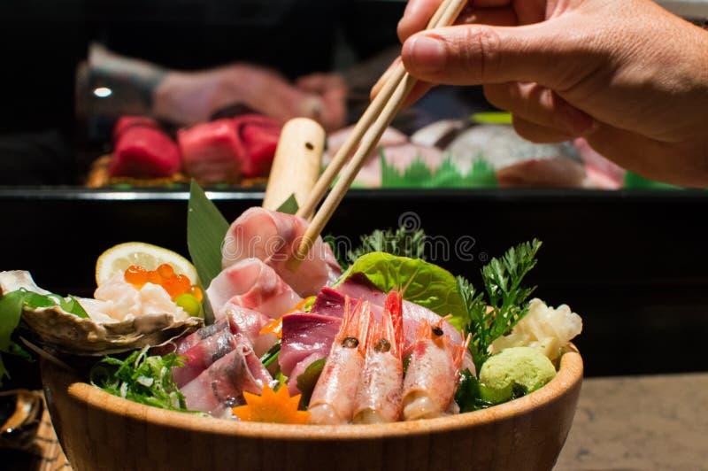 Japanese food. Plato de cocina japonesa con ensalada stock image