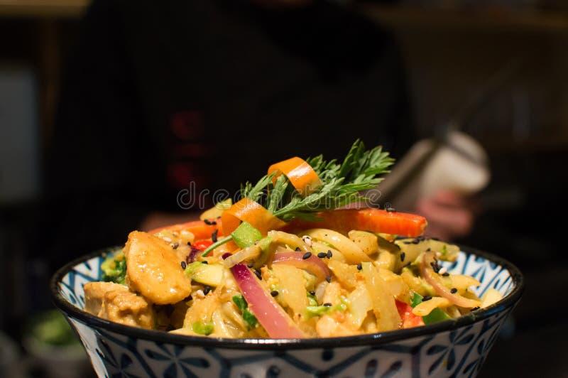Japanese food. Plato de cocina japonesa con tallarines royalty free stock image