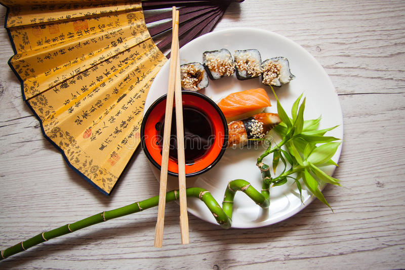 Japanese food. Platter of various sushi maki, Japanese food stock image