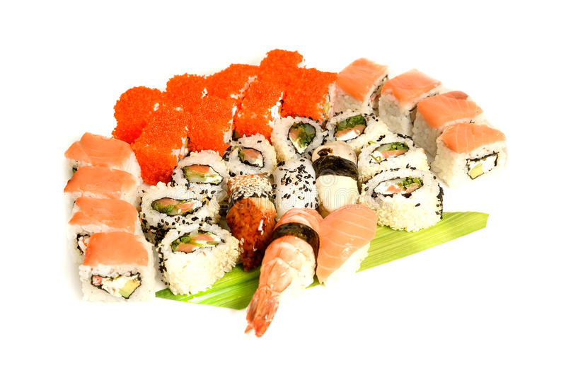 Japanese food restaurant delivery - sushi maki california gunkan roll platter big set isolated at white background. Above view stock images