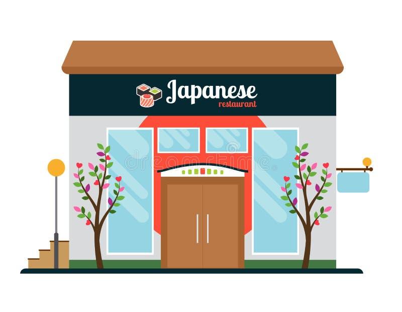 Japanese food restaurant front vector illustration