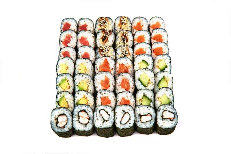 Japanese food restaurant, sushi maki gunkan roll plate or platter set. California Sushi rolls with salmon. Sushi at white. Japanese food restaurant, sushi maki stock images