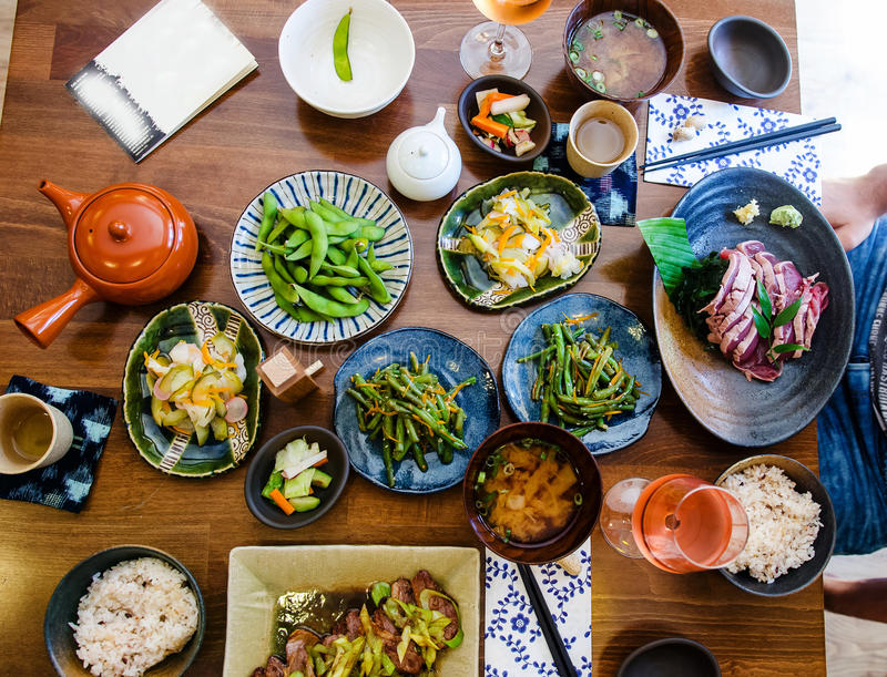 Japanese food at the restaurant stock photo