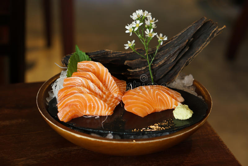 Japanese food - Salmon Sashimi stock photos
