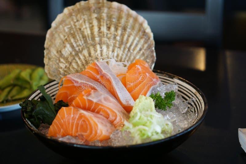 Japanese food - Salmon Sashimi royalty free stock images