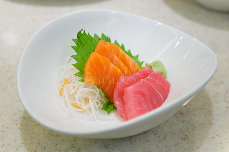 Japanese food Sashimi Salmon and Tuna stock image