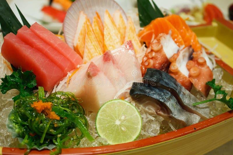 Japanese food sashimi set. Close up royalty free stock image
