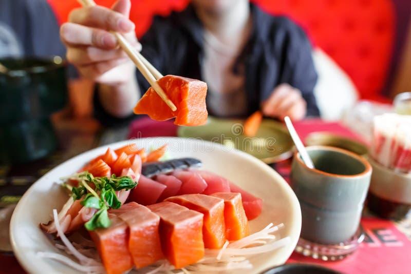 Japanese food sashimi set. In japanese restaurant stock photography